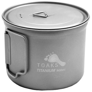 TOAKS 900ml D115mm Titanium Camping Cooking Pot with Foldable Handles