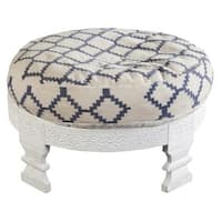 "30"" Winter White and Navy Blue Upholstered Wooden Ottoman"