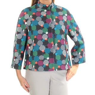 ANNE KLEIN Womens New 1396 Navy Geometric Suit Wear To Work Jacket 12 B+B