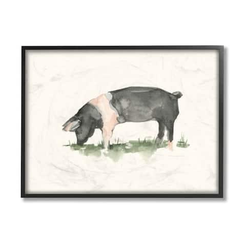 Stupell Industries Farm Pig Grazing in Field Hog Watercolor Framed Wall Art