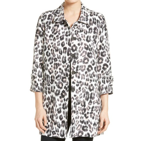 Joie NEW Black Women's Size Medium M Leopard Print Linen Jacket