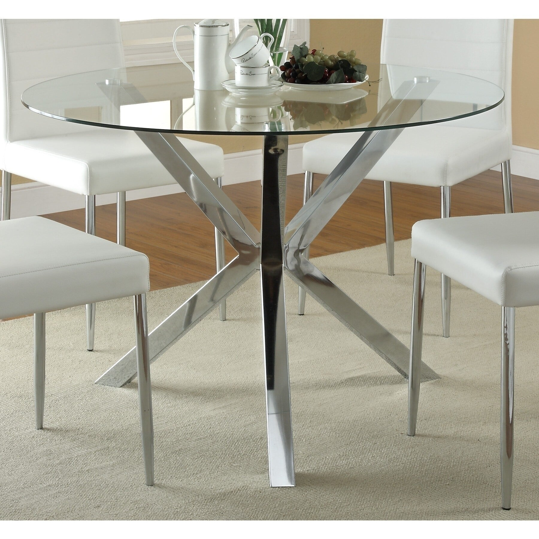 Coaster Company Chrome Glass Top Dining Table 30 X 41 25 On Sale Overstock 12344846