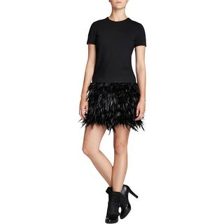 DKNY Womens Cocktail Dress Feathers Drop Waist