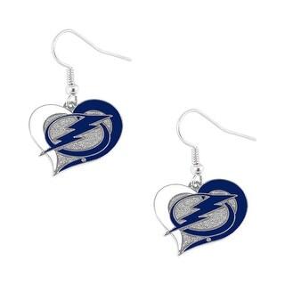 Tampa Bay Lightning Swirl Heart Earring NHL Dangle Logo Charm Gift