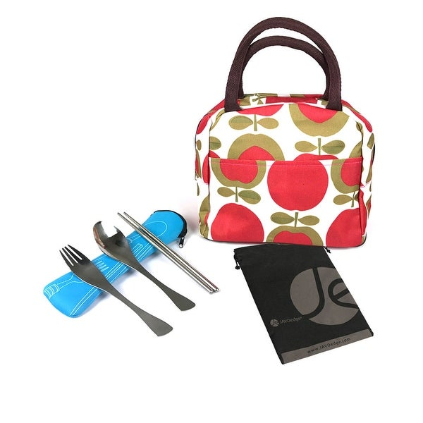 66be098a18 Apple Pattern Lunch Bag Tote with Zipper and Handle & 3 Piece Utensil  Set