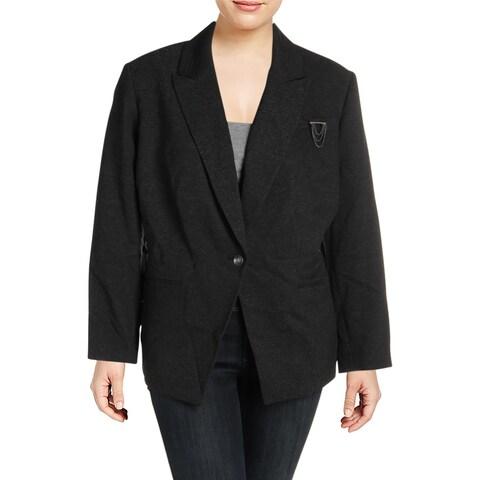 Tahari ASL Womens Plus One-Button Blazer Textured Office