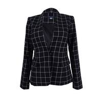 Tommy Hilfiger Women's Windowpane Jacket (0, Black/Ivory) - Black/Ivory - 0