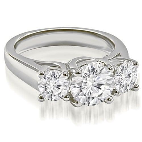 2.00 cttw. 14K White Gold Three-Stone Trellis Round Cut Diamond Engagement Ring