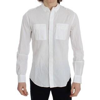 Dolce & Gabbana White Cotton SICILIA Casual Slim Fit Shirt - 38