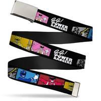 Blank Chrome  Buckle Power Ranger Pose Blocks Go Go! Power Rangers Web Belt - S