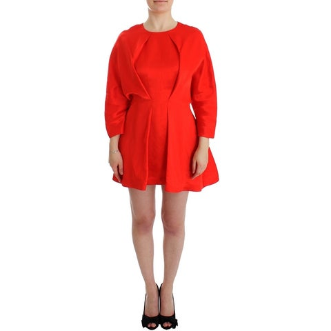 Fyodor Golan Fyodor Golan Red Mini Linen 3/4 Sleeve Sheath Dress