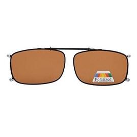 Eyekepper Metal Frame Rim Polarized Lens Clip On Sunglasses Brown Lens
