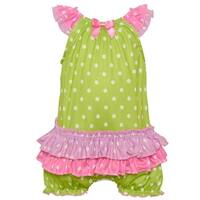 Laure Dare Baby Girls Lime Polka Dot Print Ruffle Trim Pajama Romper