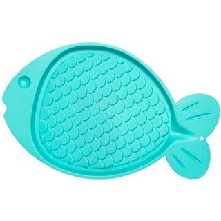 "Green - Bella Spill-Proof Fish Shaped Cat Mat 19""X12"""