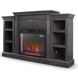 DELLA Home Electric Fireplace TV Stand with Bookshelves Storage, Grey