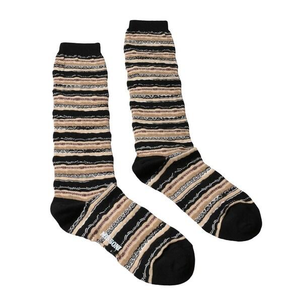 Missoni GM00CMD5221 0004 Tan/Black Mixed Stripe Boot Socks - M