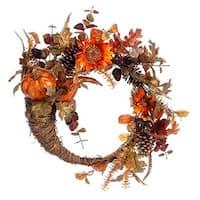 "22"" Autumn Harvest Orange Pumpkin & Sunflower Artificial Thanksgiving Floral Cornucipia Wreath - Unlit"