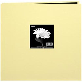 "Soft Yellow - Book Cloth Cover Post Bound Album 12""X12"""