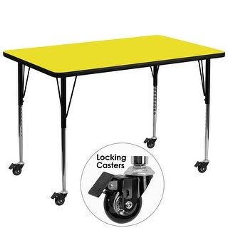 Fun & Games Activity Table 36''W x 72''L Rectangular Yellow High Pressure Laminate Adj Height w/Wheels