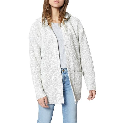 Sanctuary Women's White Size XS Hooded Open Front Cardigan Sweater