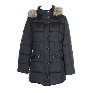 London Fog Black Faux-Fur-Trim Hooded Down Coat M
