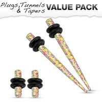 Orange & Yellow Splatter IP Steel Plug & Taper with O-Ring Set Value Pack