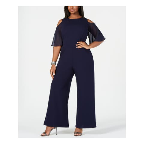 CONNECTED APPAREL Navy Bell Sleeve Wide Leg Jumpsuit Size 20W