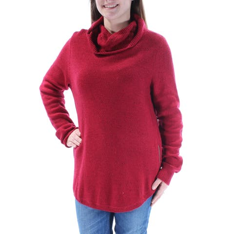 LUCKY BRAND Womens Red Long Sleeve Cowl Neck Sweater Size: M