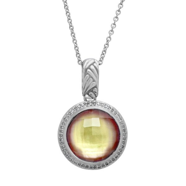 11 ct White Quartz-Plated Orchid Natural Mother-of-Pearl and 1/4 ct Diamond Pendant in Sterling Silver