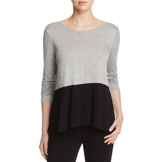 Three Dots Womens Casual Top Colorblock Hi Low