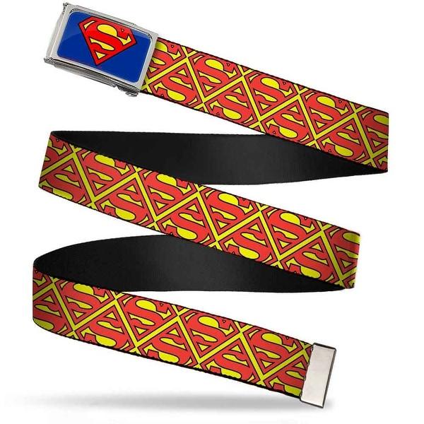 Superman Fcg Blue Chrome Super Shield Flipped Yellow Red Webbing Web Belt