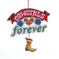 "4.5"" Wild West ""Cowgirls are Forever"" with Boot Pendant Christmas Plaque Ornament"