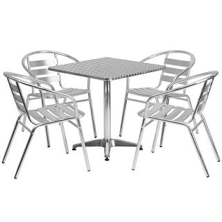 """Offex 27.5"""" Square Aluminum Indoor-Outdoor Table With 4 Slat BAck Chairs"""