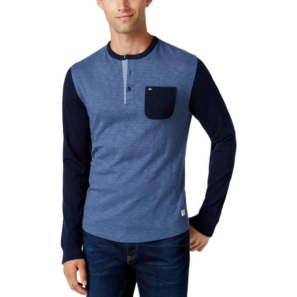 Tommy Hilfiger Mens Henley Sweater Slub Cotton