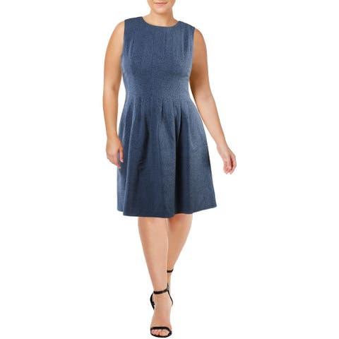 Anne Klein Womens Scuba Dress Polka Dot Pleated - Versailles/Black - 16