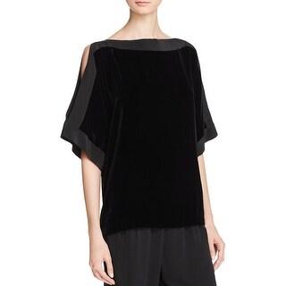 Eileen Fisher Womens Blouse Velvet Short Sleeves