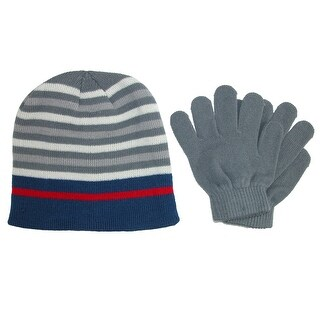 Grand Sierra Kid's 8-12 Striped Hat and Solid Gloves Winter Set