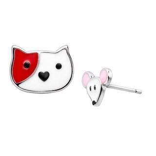 Girl's Cat & Mouse Enamel Stud Earrings in Sterling Silver