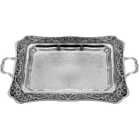 """Tray With Handles Silver Plated 13x16.5"""""""