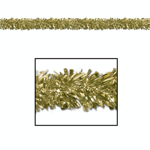 Pack of 12 Festive Metallic Gold Foil Tinsel 6-Ply Christmas Garlands 15' - Unlit