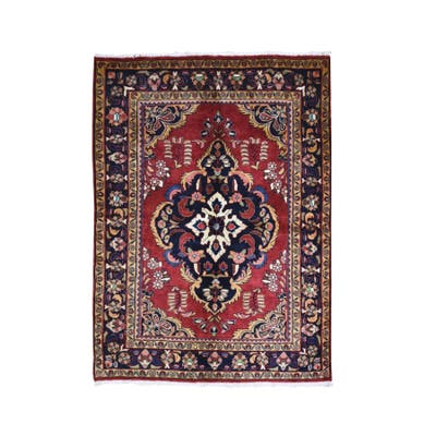 """Hand Knotted Red Persian with Wool & Silk Oriental Rug (5'5"""" x 7'3"""") - 5'5"""" x 7'3"""""""