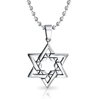 Mens Large Jewish Star of David Steel Religious Pendant Stainless Steel Necklace 20 Inches