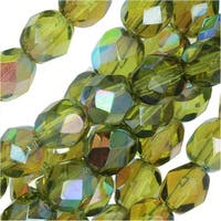 Czech Fire Polished Glass, Faceted Round Beads 6mm, 25 Pieces, Olive Brown Rainbow