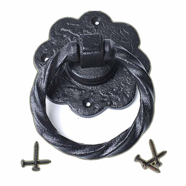 Ring Pull Cabinet or Drawer or Door Wrought Iron Black 5'' | Renovator's Supply