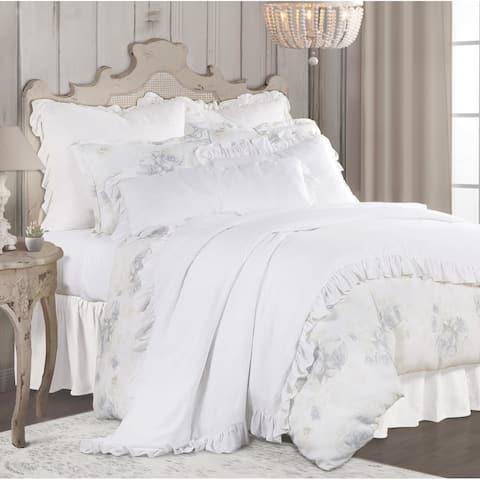 3 PC Rosaline Washed Linen Comforter Set, King