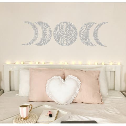 Moon Phase Wall Decal. Mandala Moon Decal Bohemian