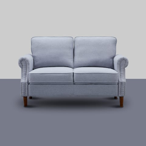 """Melly 55.9 in. Wide Linen Round Arm Sofa - 55.9""""W:30.7""""H:33.8"""""""