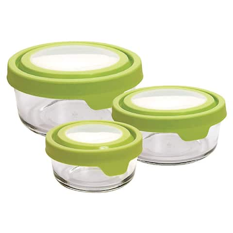 Anchor Hocking TrueSeal 6-Piece Round Glass Food Containers with Lids, Green