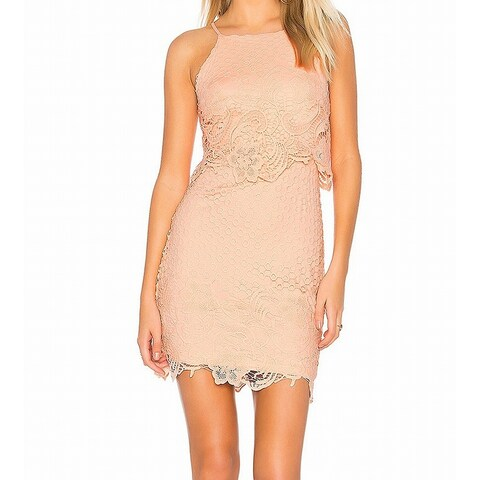 BB Dakota Pink Women's Size 8 Floral Crochet Bryn Sheath Dress