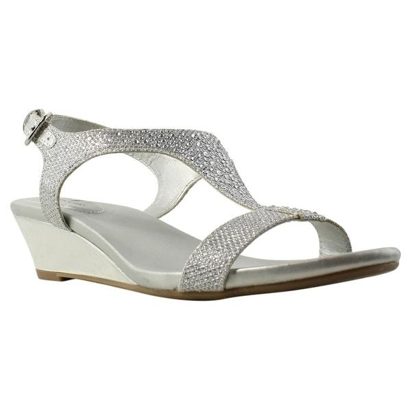 39f9d08e156 Shop Bandolino Womens 25024228 Silver Ankle Strap Heels Size 6 ...